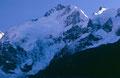 Telezoom-Foto von 1985: Licht und Schatten am Piz Bernina - Biancograt in der Sonne