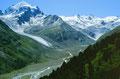 Val Roseg, Tschiervagletscher und Roseggletscher vom Abstiegsweg ins Rosegtal