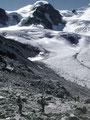 Abstgieg von der Diavolezza-Bergstation über die Seitenmoräne auf den Persgletscher