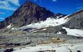Rotferdenhorn und -gletscher von der mit Steinmännern markierten Lötschenpass-Hochfläche