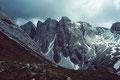 Felsgipfel zwischen Einserkofel und Büllelejoch vom Weg Bödenseen - Talschlusshütte