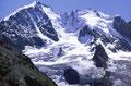 Piz Bernina und Piz Scerscen mit Tschiervagletscher von Der Fuorcla Surlej.