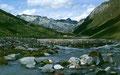 Der mäandernde Abfluss des Fexgletschers. Links die Alp Fex.