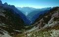 Blick von der Auronzohütte in südlicher Richtung durchs Vallon di Lavaredo ins Marontal