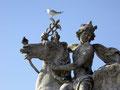 Le pigeon, la mouette et la statue