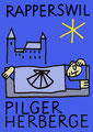 Unser farbiges Logo - der schlafende Pilger unterhalb des Rapperswiler Schlosses