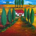 Zypressen, Acryl (80 x 80 LW)