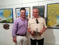 """19 luglio 2014 - Taranto, galleria comunale del castello aragonese. Mostra """"Segni e colori """". Con il mio amico Antonio Cafaro, papà del caro e indimenticato Gennaro."""