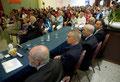 """30 giugno 2018 - Lecce, Grand Hotel President, Sala Apulia. Premio Internazionale d'Arte """"Giulio Cesare Imperatore"""". Al tavolo con i membri componenti del Comitato d'Onore. (ItalPhoto Mesagne)"""