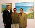 """Maggio 2008 - Taranto, Galleria Comunale del Castello Aragonese."""" Sinfonia di colori in riva allo Jonio """".Nella foto da sinistra: Peppino Sciancalepore, Vincenzo Santoro, Mauro Giordano."""