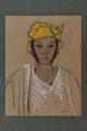 Anna Quinquaud, Portrait de jeune femme au turban jaune, crayon noir, fusain et gouache