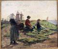 Achille Granchi-Taylor (1857-1921), Concarneau, l'attente des pêcheurs, huile sur toile.