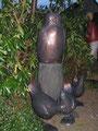 Betonfigur-Gartenfigur-Eule-Bronzeoptik, ca.73cm hoch