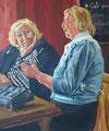 de dames, acryl op doek, 60 x 50, 2013