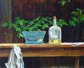 fles met invetolie, acryl op paneel, 40 x 50, 2008