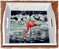 Tablett mit Flamingo