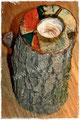 Holzkerzenständer mit Malerei