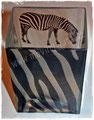 Zebra-Vase in Handarbeit gestaltet