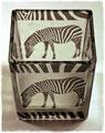 Zebra auf Glas-Windlicht
