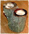 Holz-Kerzenständer natur mit Malerei