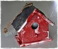 Vogelhaus Shabby Chic in rot