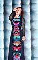 MASKENBALL Kleid mit Häkelapplikationen