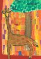 Giraffe in der Savanne, Matteo Herget, Klasse 4b