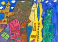 Bunte Häuser nach James Rizzi, Vicky Walther, Klasse 7