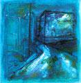 街と夜    2004 水彩、紙 100mmx100mm 作家蔵