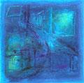 街と夜    2004 水彩、紙 100mmx100mm 個人蔵