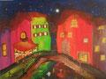 © Stadt im Sommer mit Brücke   Acryl auf Canvas Grain   40x30cm   170€
