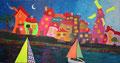 Wenn Schiffe die Stadt besuchen.   Arcrylbild 110x210cm    2200€