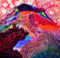 『 華山 』  1810×1810㎜ パネル、砂、顔料、膠、他 アートアワードネクストⅡ 入選