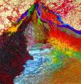 『 華山 』  2011年制作 (185㎝×160㎝)  パネル、顔料、砂、膠、他