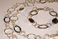 925er Silber-Gliederkette und -armband, Kette kann sowohl lang als auch kurz getragen werden, L.: 96 und 21 cm