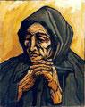 Donna in preghiera, 1973.   Olio su tela,   cm. 40 x 50