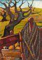 Il carretto rosso,  1989.    Olio su tela,  cm. 50 x 70