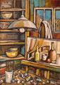 Studio d'arte, 1988.    Olio su tela,   cm. 50 x 70