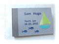 Fotoalbum zur Taufe mit Schiff, Fischen und Anker auf der Rückseite