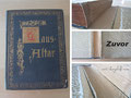 Buchreparatur - Bild 1/2 zuvor - Buchblock, durch Sturz, völlig aus dem Einband gerissen - verschmutzte Schnitte - Rückeneinlage, Kapitalband und Hülse verrottet