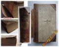 Buchreparatur - Bild 1/2 zuvor - abgelöster Buchrücken - Cover und Schnitte stark verschmutzt - lose Seiten - beschädigter Buchrücken