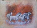 « Les 4 camarguais » : Peinture à l'acrylique - format 30x40 cm – 130 €