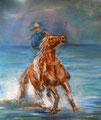 « Cow boy » : Peinture mixte - format 46x55 cm – 150€