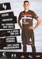 Philipp Ziereis; Rückseite Autogrammkarte: Saison 2018/19 (2. Bundesliga)