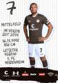 Kevin Lankford; Rückseite Autogrammkarte: Saison 2019/20 (2. Bundesliga)