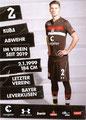 Jakub Benarczyk; Rückseite Autogrammkarte: Saison 2018/19 (2. Bundesliga)
