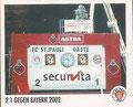 Sticker 148: 2:1 gegen Bayern 2002; Sportliche Geschichte; St. Pauli Sammeln! Panini Bilderdienst, Stuttgart