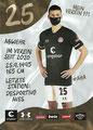 Adam Dzwigala; Rückseite Autogrammkarte: Saison 2020/21 (2. Bundesliga) Variante 2: Rückseite: Schriftzug oben rechts: Mein Verein 111