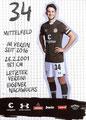 Leon Flach; Rückseite Autogrammkarte: Saison 2019/20 (2. Bundesliga)