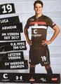 Luca Zander; Rückseite Autogrammkarte: Saison 2018/19 (2. Bundesliga)